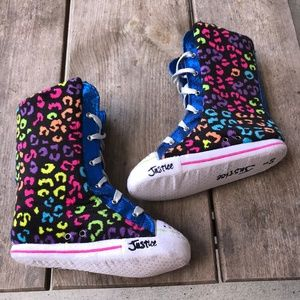 Justice Rainbow Leopard Slippers Boots Lace Up 2 3